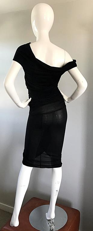 1990s Celine Sexy Off Shoulder Semi Sheer Asymmetrical Bodycon Black Dress For Sale 2