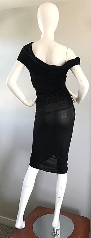 1990s Celine Sexy Off Shoulder Semi Sheer Asymmetrical Bodycon Black Dress For Sale 4