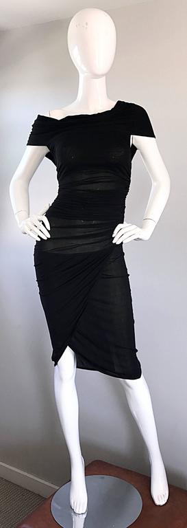 1990s Celine Sexy Off Shoulder Semi Sheer Asymmetrical Bodycon Black Dress For Sale 5