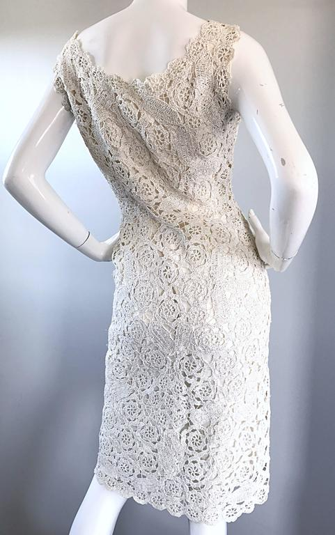Beautiful 1950s White Silver Raffia Hand Made Vintage
