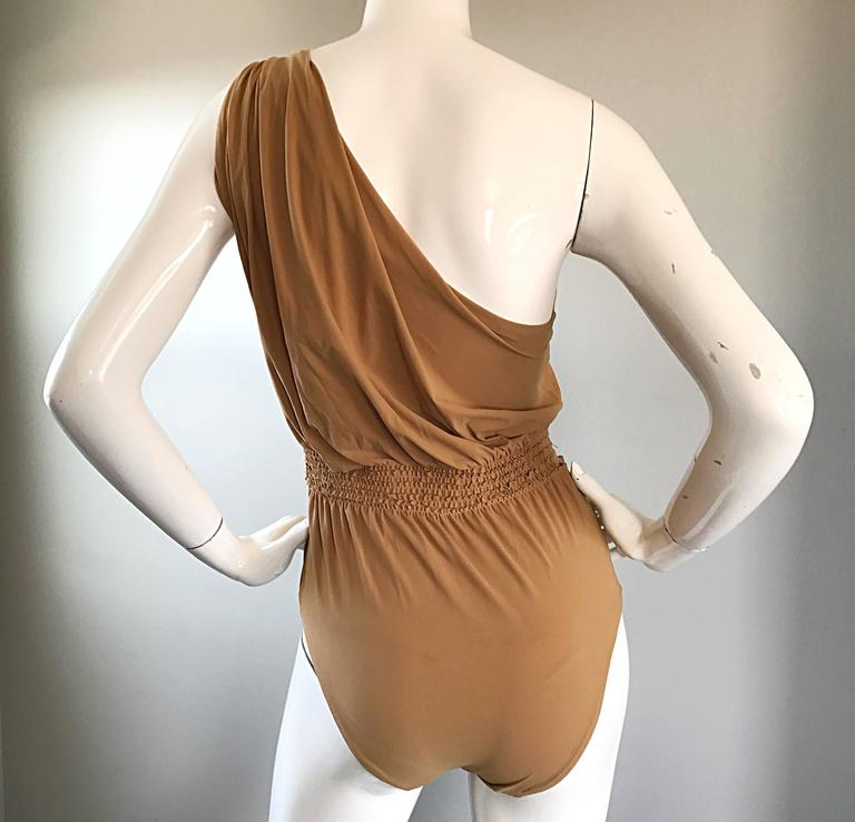 Brown Lanvin 2011 Alber Elbaz Tan Caramel One Shoulder Grecian Bodysuit or Swimsuit For Sale