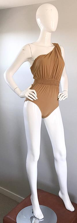 Lanvin 2011 Alber Elbaz Tan Caramel One Shoulder Grecian Bodysuit or Swimsuit In Excellent Condition For Sale In Chicago, IL