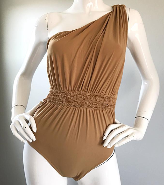 Women's Lanvin 2011 Alber Elbaz Tan Caramel One Shoulder Grecian Bodysuit or Swimsuit For Sale