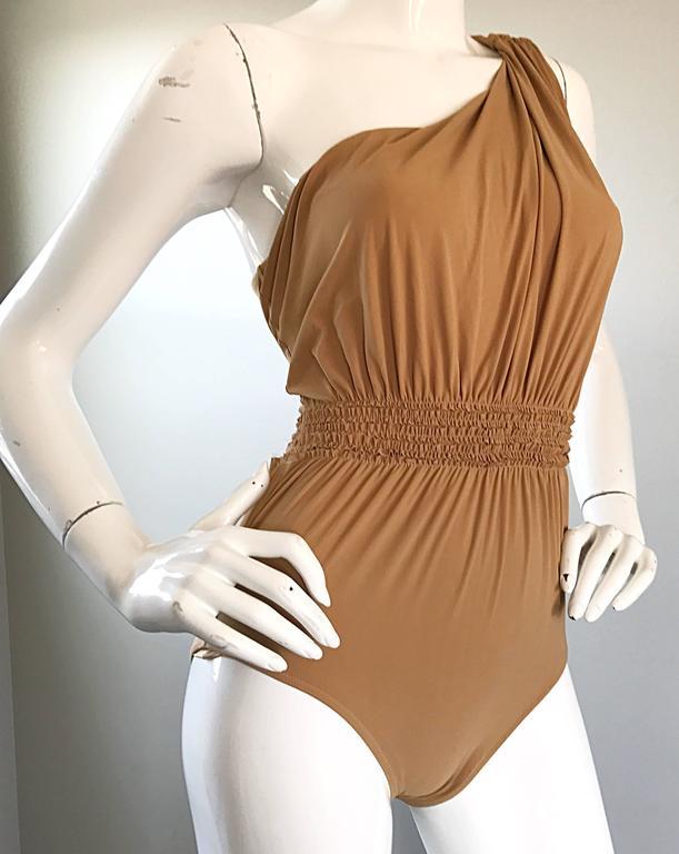 Lanvin 2011 Alber Elbaz Tan Caramel One Shoulder Grecian Bodysuit or Swimsuit For Sale 3
