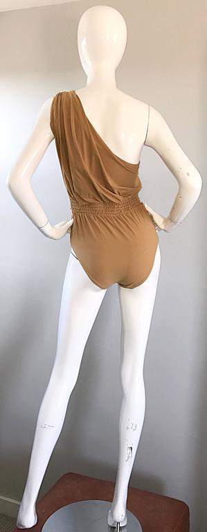 Lanvin 2011 Alber Elbaz Tan Caramel One Shoulder Grecian Bodysuit or Swimsuit For Sale 2