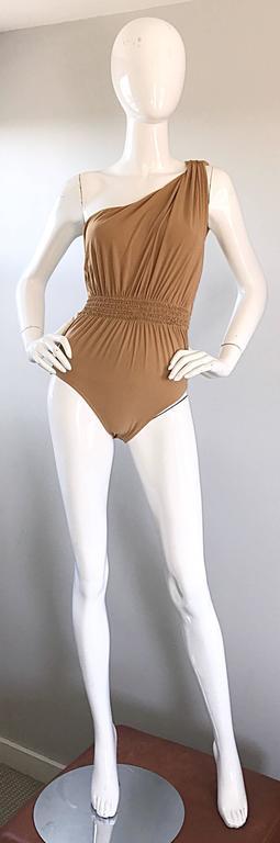 Lanvin 2011 Alber Elbaz Tan Caramel One Shoulder Grecian Bodysuit or Swimsuit For Sale 4