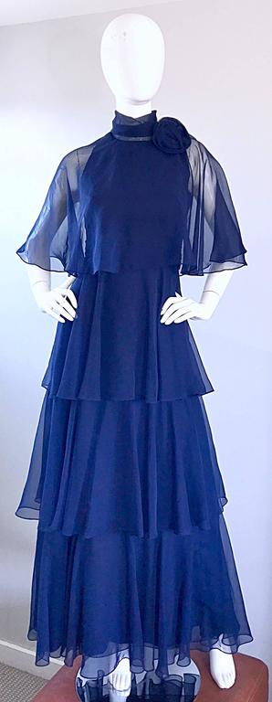 1970s Elliette Lewis Navy Blue Chiffon High Neck Caped Tiered Gown / Maxi Dress 2