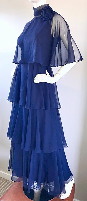 1970s Elliette Lewis Navy Blue Chiffon High Neck Caped Tiered Gown / Maxi Dress 3