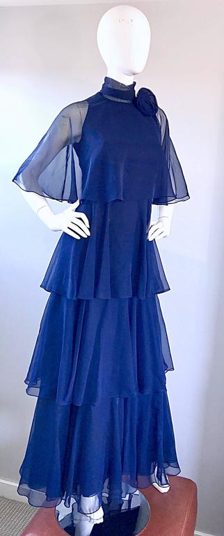 1970s Elliette Lewis Navy Blue Chiffon High Neck Caped Tiered Gown / Maxi Dress 6