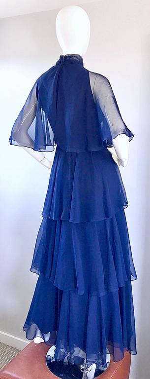 1970s Elliette Lewis Navy Blue Chiffon High Neck Caped Tiered Gown / Maxi Dress 8