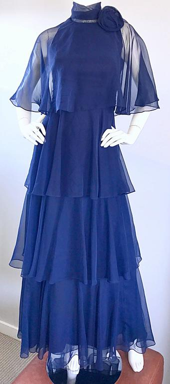 1970s Elliette Lewis Navy Blue Chiffon High Neck Caped Tiered Gown / Maxi Dress 7