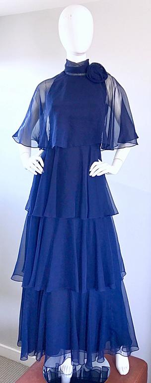 1970s Elliette Lewis Navy Blue Chiffon High Neck Caped Tiered Gown / Maxi Dress 10