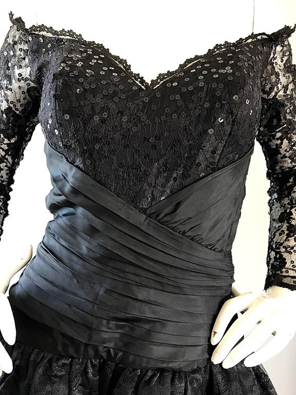 Vintage 90s Tadashi Shoji Black Off  Shoulder Taffeta Sequin Lace Cocktail Dress In Excellent Condition For Sale In Chicago, IL