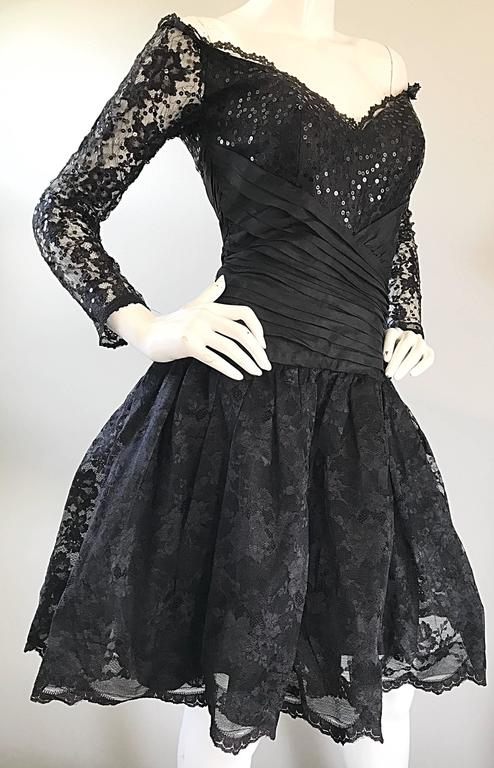 Women's Vintage 90s Tadashi Shoji Black Off  Shoulder Taffeta Sequin Lace Cocktail Dress For Sale