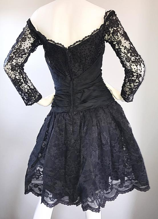 Vintage 90s Tadashi Shoji Black Off  Shoulder Taffeta Sequin Lace Cocktail Dress For Sale 1