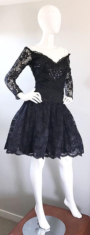 Vintage 90s Tadashi Shoji Black Off  Shoulder Taffeta Sequin Lace Cocktail Dress For Sale 2
