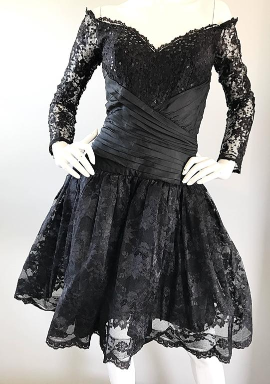 Vintage 90s Tadashi Shoji Black Off  Shoulder Taffeta Sequin Lace Cocktail Dress For Sale 3