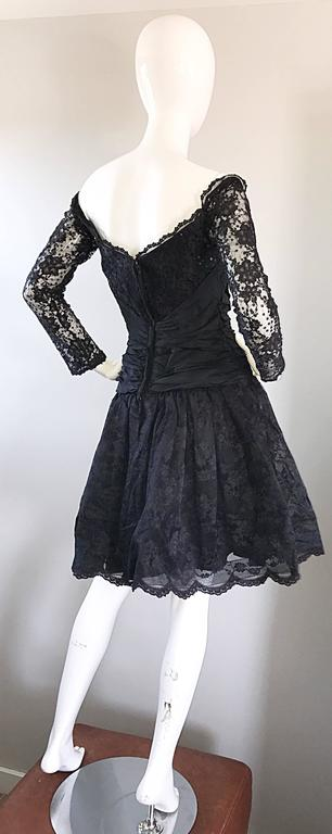 Vintage 90s Tadashi Shoji Black Off  Shoulder Taffeta Sequin Lace Cocktail Dress For Sale 4