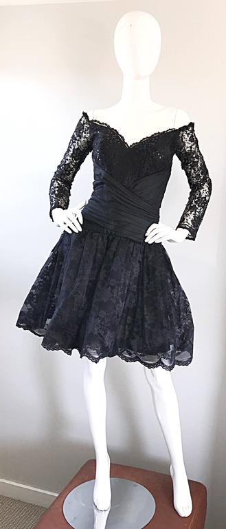 Vintage 90s Tadashi Shoji Black Off  Shoulder Taffeta Sequin Lace Cocktail Dress For Sale 5