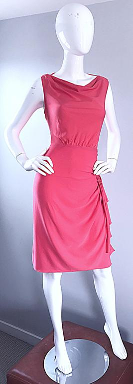 Beautiful brand new (with tags) MOSCHINO Cheap & Chic 1990s Grecian silk dress! Flattering drapery on both the bodice and skirt. Ruched detail at waist. Flattering draped neck. Hidden zipper up the side. Such a flattering little number! Can