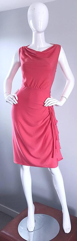 NWT 1990s Moschino Cheap and Chic Coral Pink Silk Vintage 90s Dress Size 8 New In Excellent Condition For Sale In San Francisco, CA