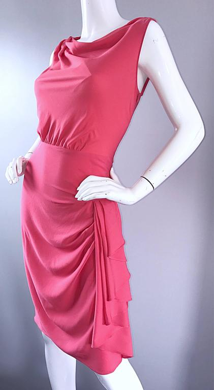 Women's NWT 1990s Moschino Cheap and Chic Coral Pink Silk Vintage 90s Dress Size 8 New For Sale