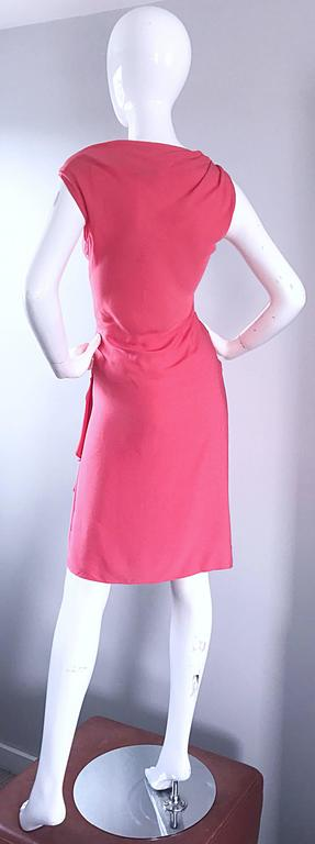 NWT 1990s Moschino Cheap and Chic Coral Pink Silk Vintage 90s Dress Size 8 New For Sale 1