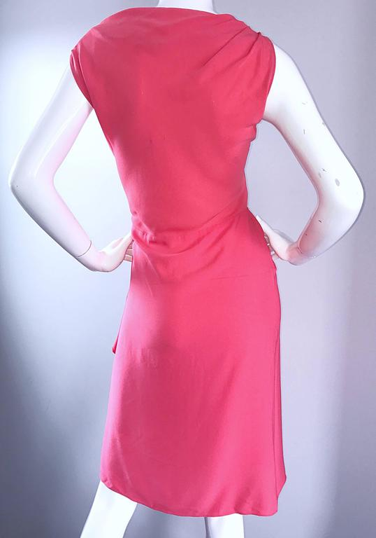 NWT 1990s Moschino Cheap and Chic Coral Pink Silk Vintage 90s Dress Size 8 New For Sale 3