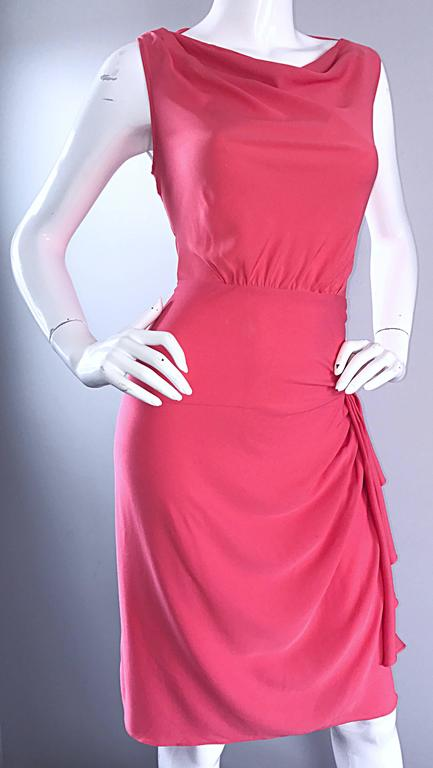 NWT 1990s Moschino Cheap and Chic Coral Pink Silk Vintage 90s Dress Size 8 New For Sale 4
