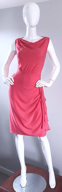 NWT 1990s Moschino Cheap and Chic Coral Pink Silk Vintage 90s Dress Size 8 New For Sale 5