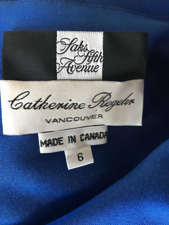 Catherine Regehr Saks 5th Ave Royal Blue Silk Off - Shoulder Belted Dress Size 6 For Sale 6