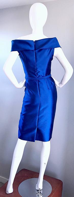 Women's Catherine Regehr Saks 5th Ave Royal Blue Silk Off - Shoulder Belted Dress Size 6 For Sale