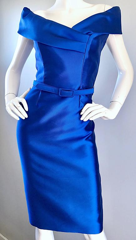 14f9aa0deb9c Catherine Regehr Saks 5th Ave Royal Blue Silk Off - Shoulder Belted Dress  Size 6 For