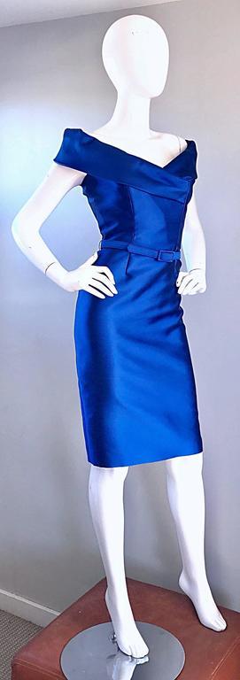 Catherine Regehr Saks 5th Ave Royal Blue Silk Off - Shoulder Belted Dress Size 6 For Sale 2