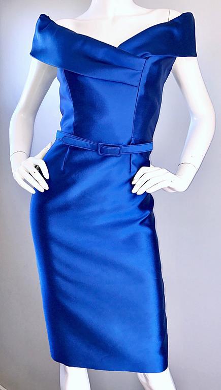 Catherine Regehr Saks 5th Ave Royal Blue Silk Off - Shoulder Belted Dress Size 6 For Sale 4