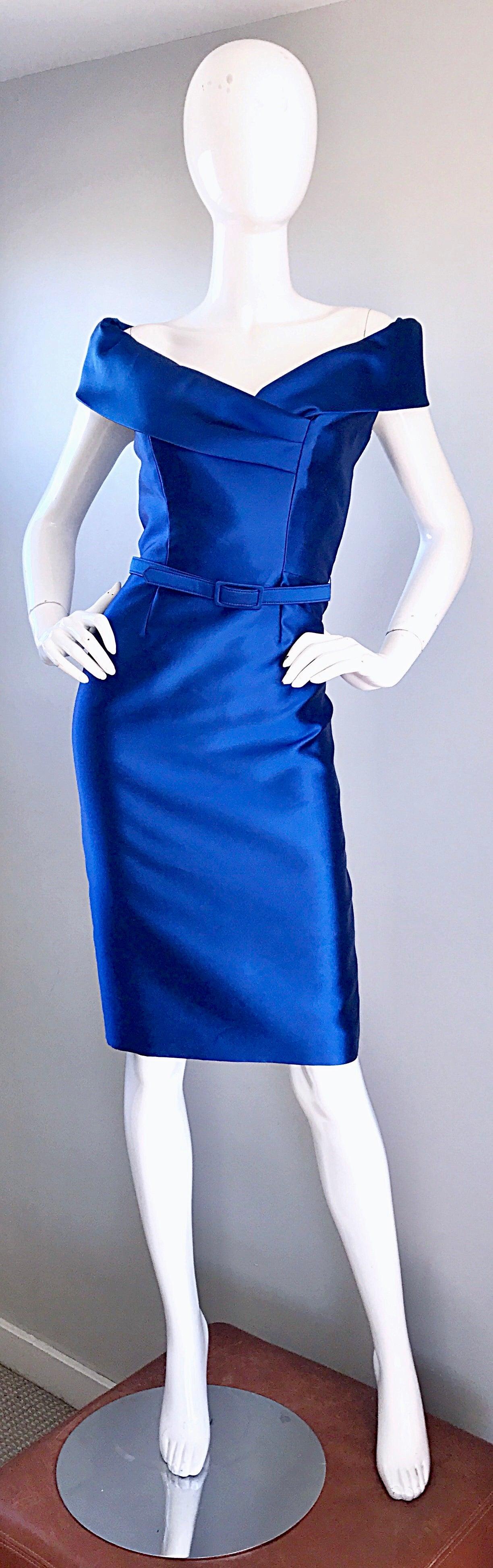 55f28c1e0afb59 Catherine Regehr Saks 5th Ave Royal Blue Silk Off - Shoulder Belted Dress  Size 6 For Sale at 1stdibs