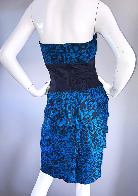 Fabulous 1980s Vintage Blue And Black Leopard Print Silk
