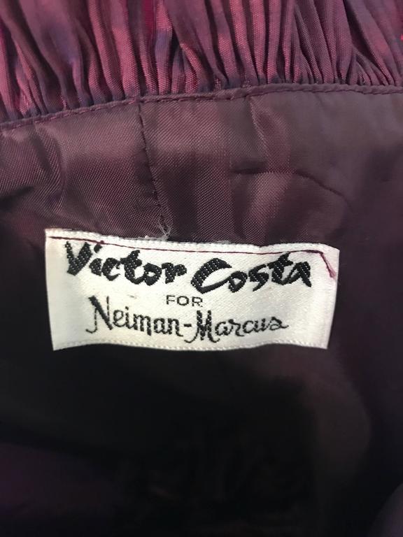 Vintage Victor Costa for Neiman Marcus Purple Metallic Silk Taffeta Dress + Belt For Sale 5
