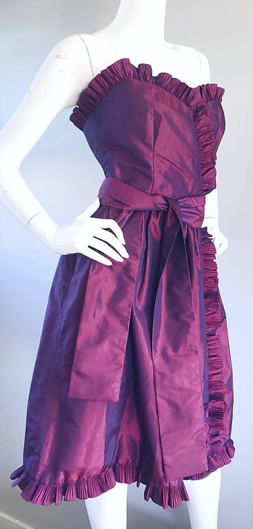 Gray Vintage Victor Costa for Neiman Marcus Purple Metallic Silk Taffeta Dress + Belt For Sale