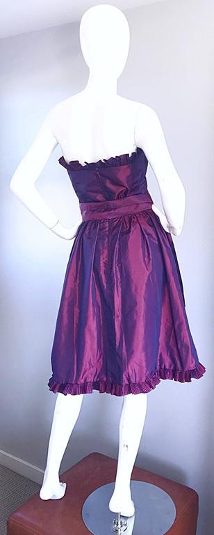 Women's Vintage Victor Costa for Neiman Marcus Purple Metallic Silk Taffeta Dress + Belt For Sale