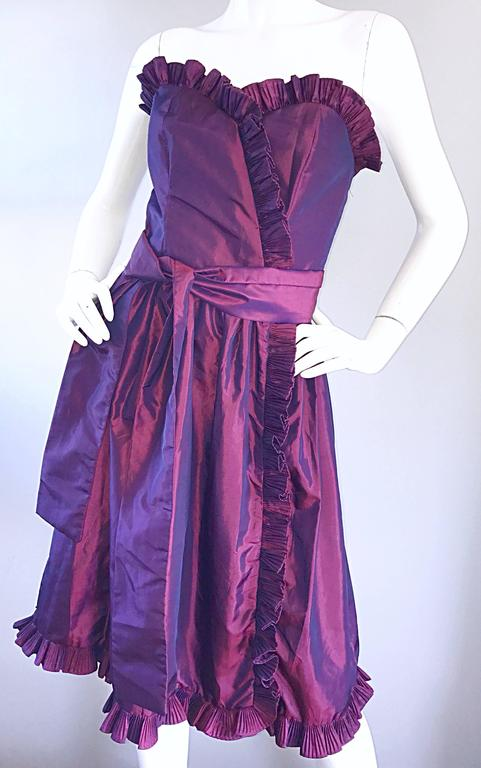 Vintage Victor Costa for Neiman Marcus Purple Metallic Silk Taffeta Dress + Belt For Sale 1