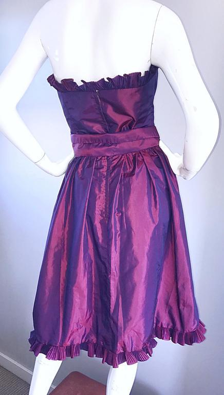 Vintage Victor Costa for Neiman Marcus Purple Metallic Silk Taffeta Dress + Belt For Sale 3