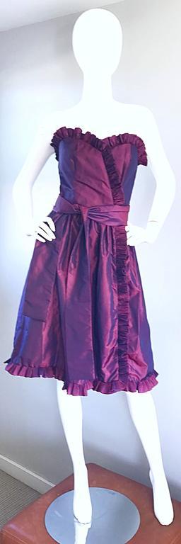 Vintage Victor Costa for Neiman Marcus Purple Metallic Silk Taffeta Dress + Belt For Sale 4