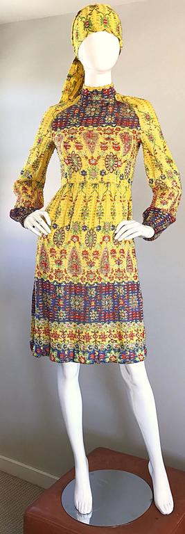 Amazing Vintage Rodrigues 1970s Yellow Silk 70s Dress and Head Scarf / Belt 2
