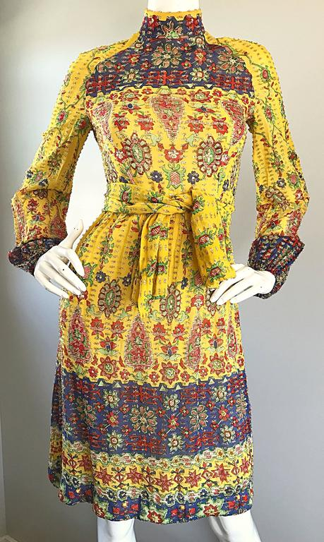 Amazing Vintage Rodrigues 1970s Yellow Silk 70s Dress and Head Scarf / Belt 4