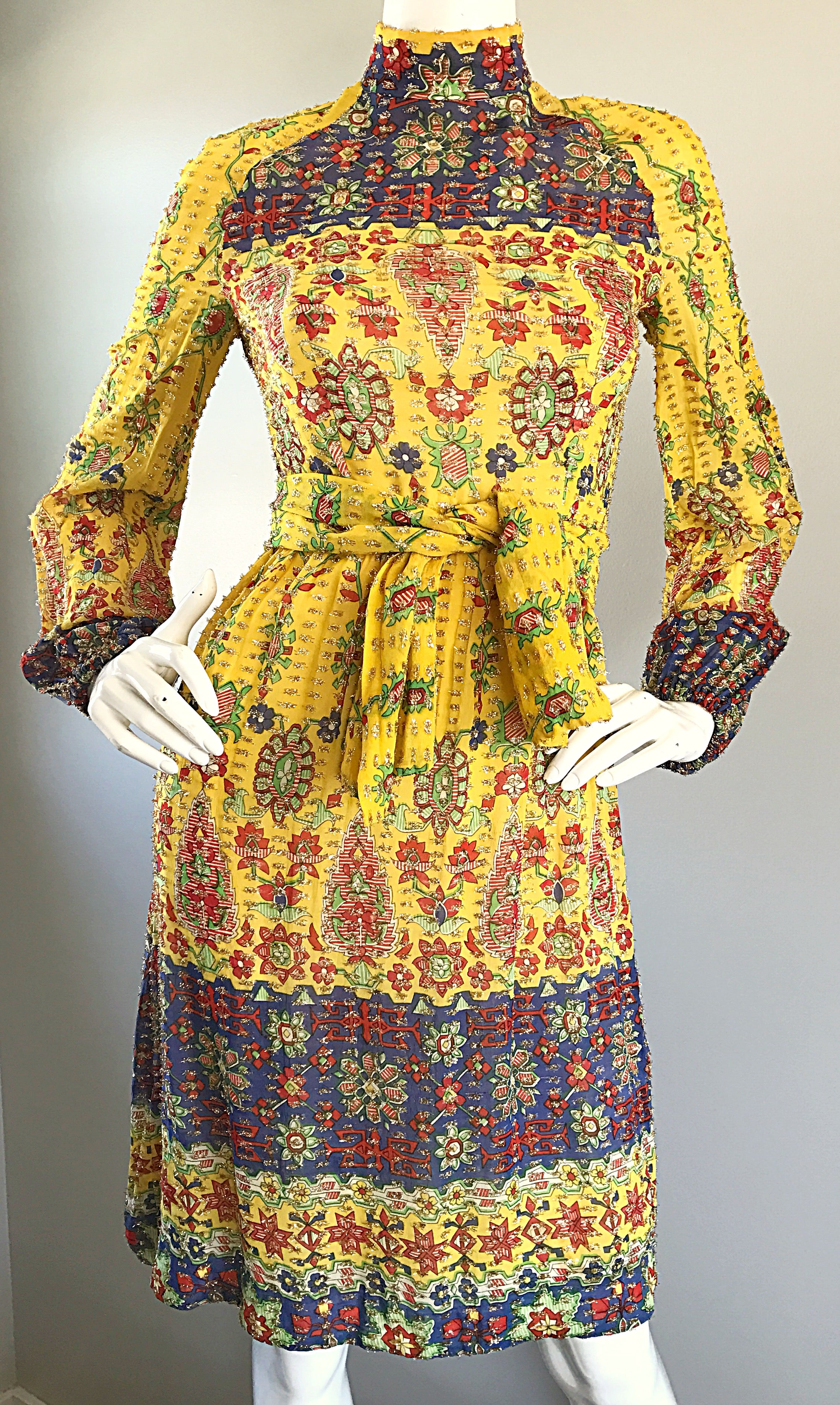 ecfb94b211 Amazing Vintage Rodrigues 1970s Yellow Silk 70s Dress and Head Scarf   Belt  For Sale at 1stdibs