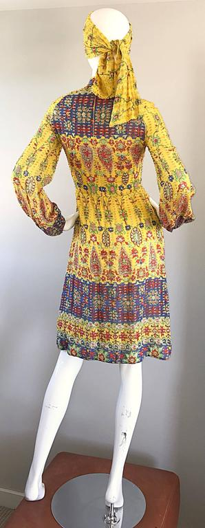 Amazing Vintage Rodrigues 1970s Yellow Silk 70s Dress and Head Scarf / Belt 5