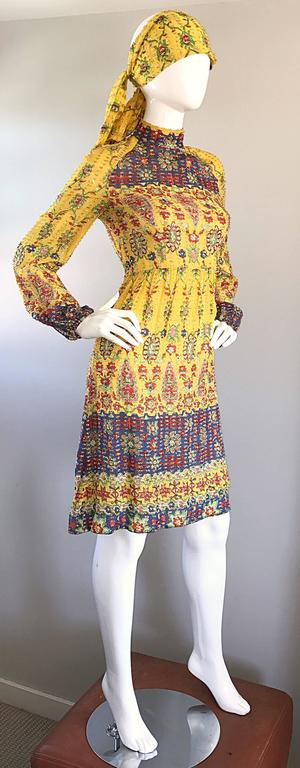 Amazing Vintage Rodrigues 1970s Yellow Silk 70s Dress and Head Scarf / Belt 6