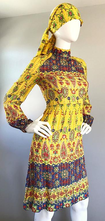Amazing Vintage Rodrigues 1970s Yellow Silk 70s Dress and Head Scarf / Belt 8