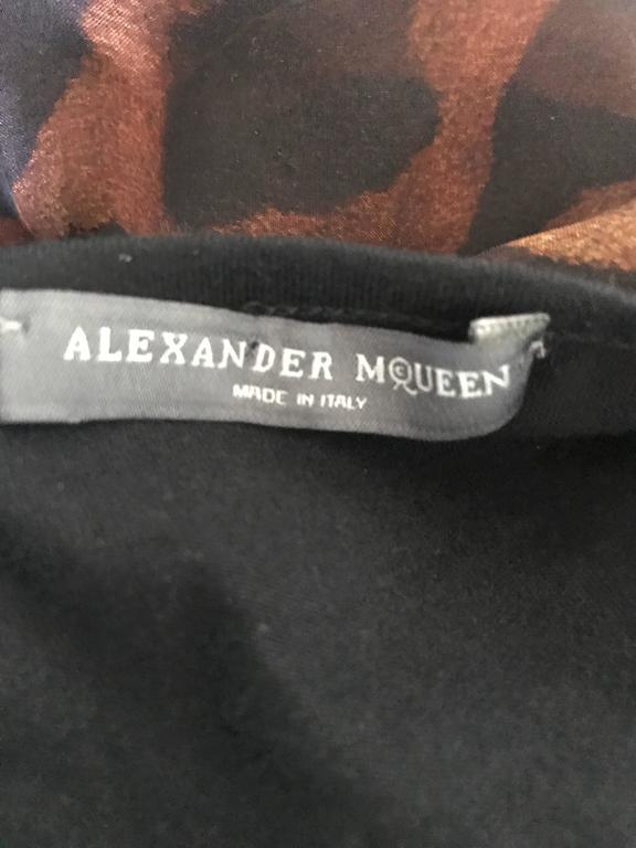 Alexander McQueen Leopard Print Silk Chiffon Flutter Sleeve Racerback Blouse Top For Sale 5